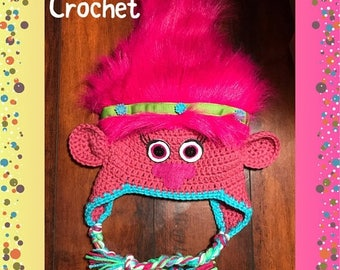 SALE Poppy & Branch Troll, Crochet Hat, Troll Hat, Winter Hat, Custom Made, Hand Made