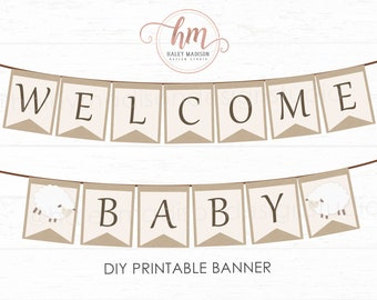 Little Lamb baby shower, Welcome Baby Banner, Gender Neutral Little Lamb baby shower, baby sprinkle PRINTABLE FILE
