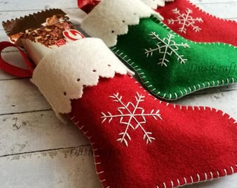 PRE ORDER / Felt Christmas Stocking Ornament, Christmas Candy Holder, Custom Stocking Decor/ Possible Personalization