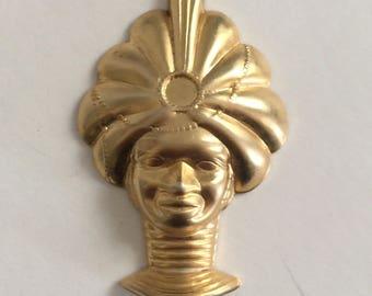 Vintage Turban head charm pendant