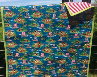 Viking Quilt, Seafaring Quilt, Whole Cloth Quilt, Viking Ships, Kids Quilt, Baby Gift, Boys Gift, Vikings, Baby Blanket,