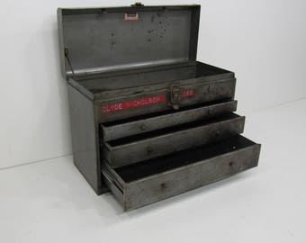 Vintage Toolbox, Machinist Toolbox, Industrial Cabinet, Jewelry Box, silver 3 Drawer Metal Chest, Industrial Toolbox,Kennedy Toolbox.