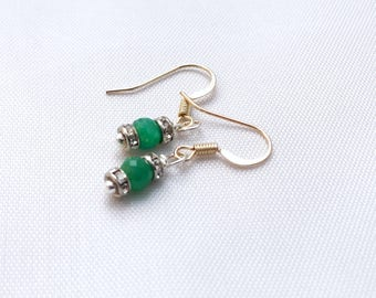 Minimalist emerald earrings