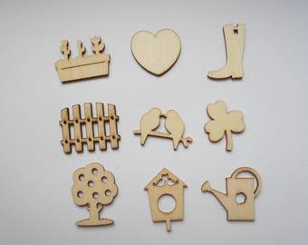 wooden figurines wooden nature theme, Garden Mint 9 embellishments