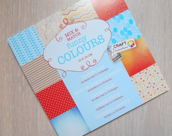 "Block 30 sheets 15 x 15 cm ""Funny Colours"" scrapbooking"