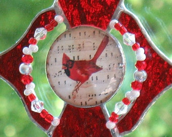 Red stained glass cardinal suncatcher decor, window hanging glass ornament, home decor, outdoor garden decor, gift for her, birthday gift