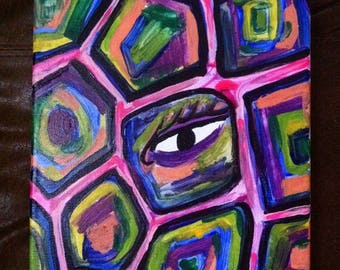 SALE Trippy Eye Painting / Trippy Painting / Acrylic Painting / Psychedelic Painting / Eye Painting / Abstract Painting / Abstract Wall Art