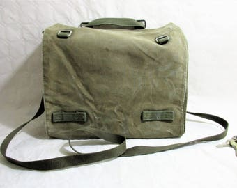 Vintage Washed Khaki Green Hemp Canvas Military Messenger /  Cross Body Bag