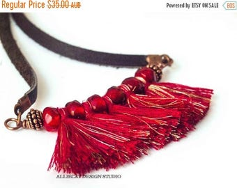 CLEARANCE Bohemian Necklace | Boho Necklace | Gypsy Red Tassel Necklace