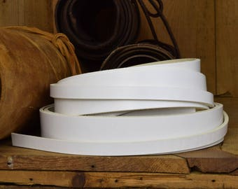 leather strap 127cm long 35mm thick white full grain cow hide various widths project