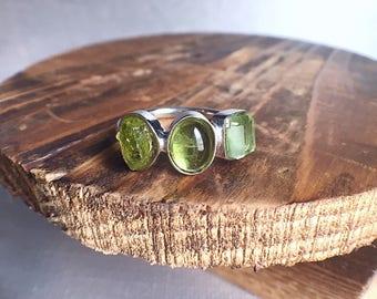raw peridot ring, August birthstone, peridot silver ring, rough peridot ring, peridot jewelry, birthstone ring, bespoke ring, gemstone ring