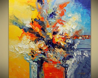 Into the Blue Abstract Painting Modern Textured Palette Knife by Lana Guise