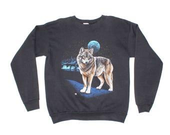 Vintage 1980s Wilderness Blue Moon Wolf Sweatshirt