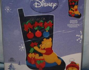 Disney Janlynn Poohs Christmas Stocking Felt Applique Kit NEW Sealed Holiday