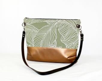 Palms copper cross body bag with leather handle, ladies handbag, handbag, shoulder bag, Tote, ladies bag