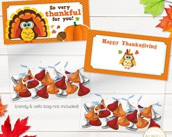 Thanksgiving Treat Bag Topper, Thanksgiving Favor Tags, Owl, Pilgrim, Turkey, Thankful, Printable, INSTANT DOWNLOAD