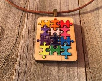 Autism Jewelry-Autism Awareness Heart Pendant-Autism Puzzle Piece Necklace-Autism Art-Art Jewelry-Laser Cut Pendant-Autism Gift