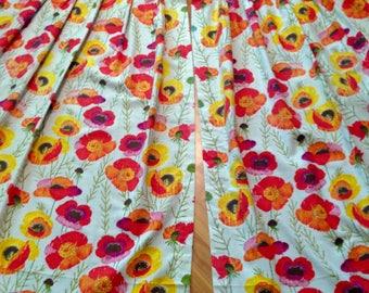4 Floral Barkcloth Curtains Poppy