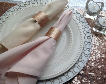 rose gold glitter wedding napkin rings party table napkin rings bling napkin rings - Wedding Napkin Rings