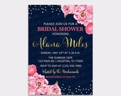 JUNE SALE Peony Bridal Shower Invitation- Floral Navy Blue Pink Gold Watercolor Peonies - Bubbly Brunch Confetti Baby Shower - Digital File