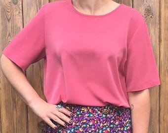 Vintage 1990's Classic Dusky Pink Blouse Top