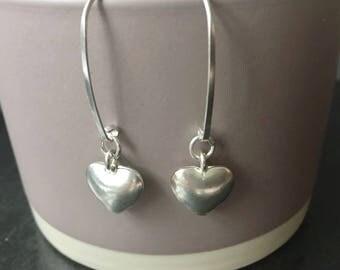 Sterling Silver Heart Earrings, Silver Heart Charm Earrings, Long Dangle Earrings, 925 Silver Jewellery Gift For Her,