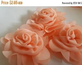 """ON SALE chiffon flower, 2.5"""" PEACH chiffon rose flower for baby headband diy,single flower, fabric flower"""