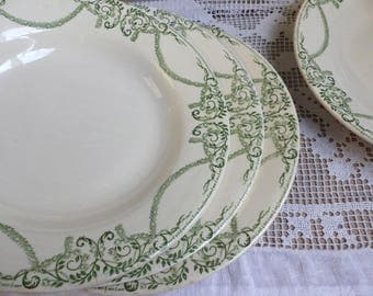 Set of 5 antique french green transferware soup plates. Spring green light green. Empire. Jeanne d'Arc living. French shabby chic plates