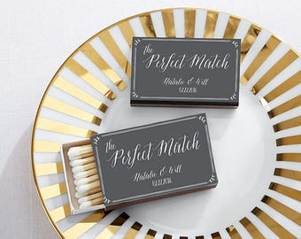 SET of 50 Personalized Wedding Matchboxes - A Perfect Match - Wedding Matches - Wedding Favors (28257WD)