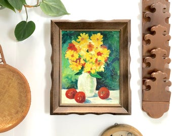 Vintage Painting | Flower Oil Painting with Wooden Frame | Floral Home/Wall Decor