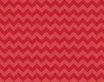 SALE Red Tone on Tone Chevron Small 1 Yard Riley Blake Cotton Fabric