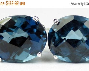 On Sale, 30% Off, London Blue Topaz, 925 Sterling Silver Post Earrings, SE102