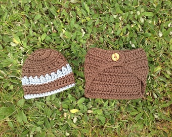 Newborn Baby Boy Beanie Hat and Diaper Cover Set - Taupe Brown and Blue