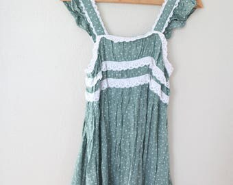 vintage green liberty floral & white lace mini prairie sundress