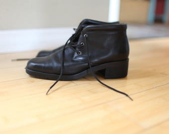 vintage black leather oxfords ankle boots lace up womens 8