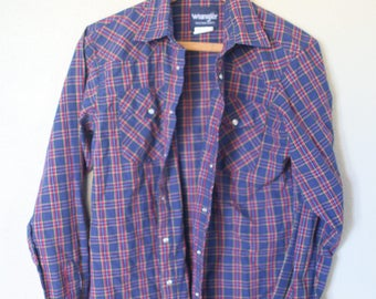 vintage wrangler western cut plaid blue pearl snap button up shirt *