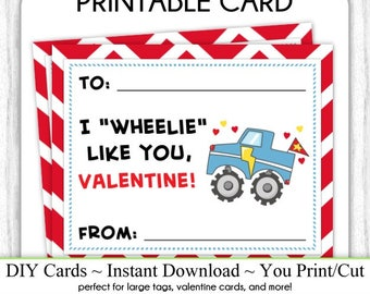 Truck Valentine's Day Printable Cards, Valentine Cards, 4x5 Inch, DIY, You Print, Monster Truck Valentine Printable Cards, INSTANT DOWNLOAD