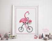 Pink flamingo riding his bicycle print, cycling flamingo, 5 x 7, 8 x 10 and 11 x 14