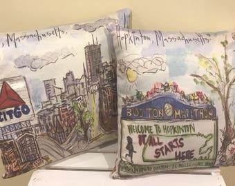 """Marathon Themed Hopkinton/Boston Throw Pillow 16""""x16"""""""