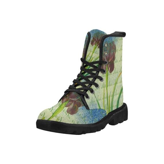 Botanical iris, Women's high top combat boots, 80's style, feminine prints
