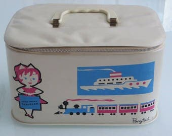 Really cute vintage retro Ponytail pony tail vinyl little miss traveler childs toy train case luggage carry on