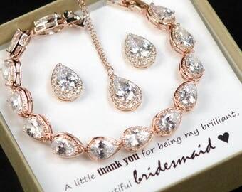 Rose Gold Bridal Earrings Wedding Jewelry Crystal Bridal Earrings Bridesmaid jewelry Bridesmaids Earrings Personalized Bridesmaids Gift N