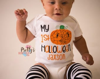 Boys 1st Halloween Outfit with Pumpkin Bodysuit or T-Shirt and Legwarmers in Sizes Newborn to 24 Months