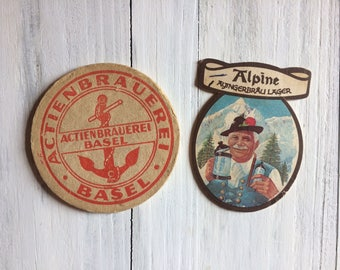 Vintage Beer Mats from Europe set of 2 beer coasters for your Retro Bar or Vintage Home
