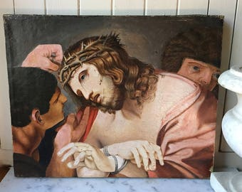 1800s antique portrait of Jesus Christ on canvas, 19th century oil painting on canvas ~ Jesus with crown of thorns