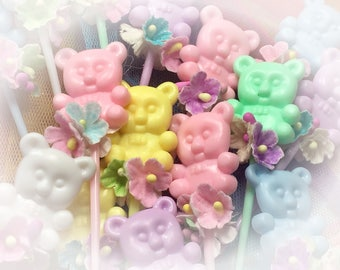 15 Pastel Kawaii Teddy Bears Flowers Cupcake Toppers Toothpick Skewer Picks Hors d'oeuvre Appetizer Birthday Tea Party Candy Bar Baby Shower