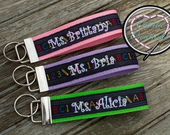 Back to School Personalized Teacher Appreciation Gift Key Fob