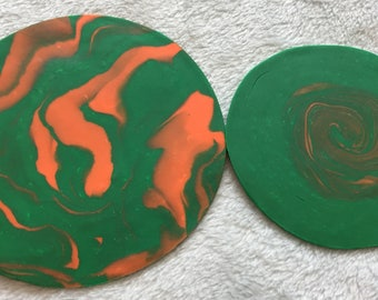Green and Orange Coasters - set of 2