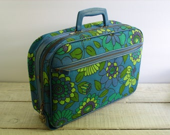 Vintage Floral Suitcase ~ Mid Century Mod Flower Canvas Carrier ~ Soft Sided Luggage Overnight Bag