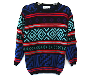 Vintage 80s sweater patterned geometric abstract red blue green black striped